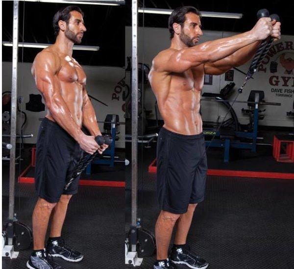 フロントレイズのポイント①「体幹を固定し、反動を抑制する」