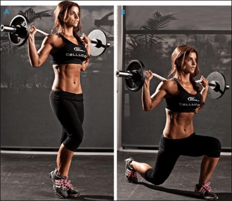 中臀筋を効果的に鍛える種目⑪「バーベル・フロントランジ」