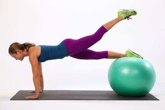腹直筋下部を鍛えるおすすめ種目⑨「シングルレッグ・バランスボールプランク」